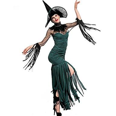 Cadı Kostüm Kadın's Peri Masalı Teması Cadılar Bayramı Performans Cosplay Kostümleri Tema Partisi Kostümler Kadın's Dans kostümleri Polyester Püsküllü