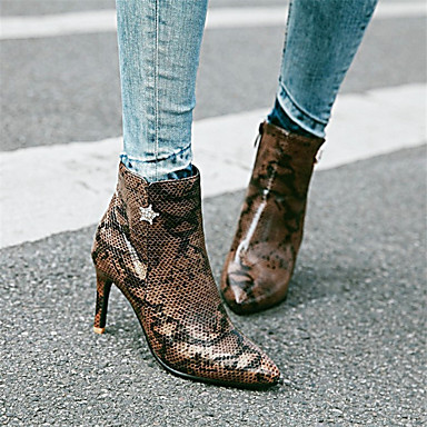 povoljno Ženske cipele-Žene Čizme Stiletto potpetica Krakova Toe Štras PU Čizme gležnjače / do gležnja Jesen zima Pink / Pink / Braon / Zabava i večer