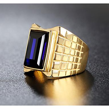 voordelige Herensieraden-Heren Ring 1pc Rood Groen Blauw Titanium Staal Onregelmatig Vintage Standaard Modieus Bruiloft Feest Sieraden Vintagestijl
