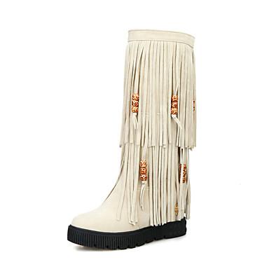 voordelige Dameslaarzen-Dames Laarzen Fashion Boots Verborgen hiel Ronde Teen Kwastje Synthetisch Kuitlaarzen Herfst winter Beige / Rood / Donker Bruin