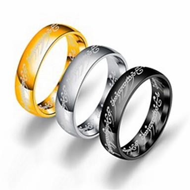 voordelige Herensieraden-Heren Dames Bandring Ring Staartring 1pc Goud Wit Zwart Roestvast staal Titanium Staal Cirkelvormig Standaard Modieus Lahja Dagelijks Sieraden Cool