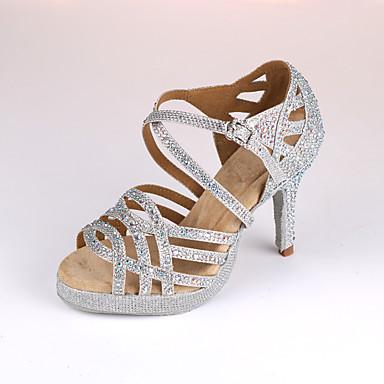Kadın's Dans Ayakkabıları Sentetikler Latin Dans Ayakkabıları Topuklular İnce Topuk Kişiselleştirilmiş Gümüş / Mavi / Performans / Deri / Egzersiz