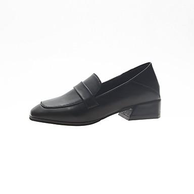 Kadın's Mokasen & Bağcıksız Ayakkabılar Kalın Topuk Dörtgen Uçlu İmistasyon İnci PU Günlük / Tatlı İlkbahar yaz Siyah / Koyu Kahverengi / Bej / Parti ve Gece