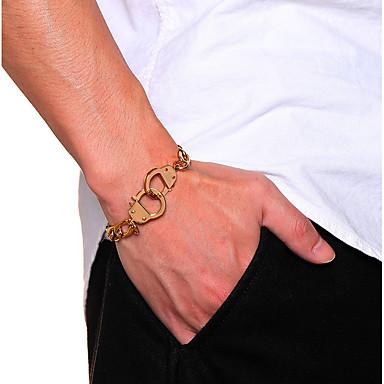 baratos Pulseira de Corrente-Homens Mulheres Pulseiras em Correntes e Ligações Pulseira de Corrente Corrente Grossa Precioso Algemas Importante Simples Original Na moda Rock Aço Inoxidável Pulseira de jóias Preto / Dourado