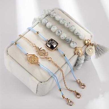 billige Motearmbånd-5pcs Dame Perlearmbånd Perler Veving søt stil Legering Armbånd Smykker Lyseblå Til Gave Daglig