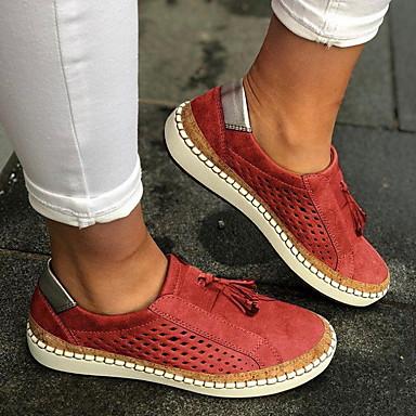 povoljno Ženske cipele-Uniseks Ravne cipele Ravna potpetica Okrugli Toe S resicama Platno Proljeće & Jesen Crn / Zelen / Crvena