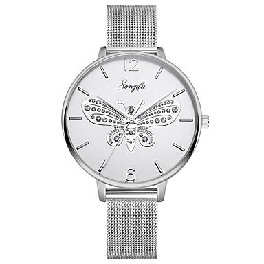 baratos Relógios Homem-Mulheres Relógios de aço Quartzo Aço Inoxidável Prata 30 m Impermeável Relógio Casual Analógico Casual Borboleta - Branco Um ano Ciclo de Vida da Bateria