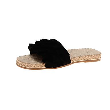 voordelige Damespantoffels & slippers-Dames Slippers & Flip-Flops Comfort schoenen Platte hak Open teen PU Zoet Swingschoenen Zomer Zwart / Beige / Geel