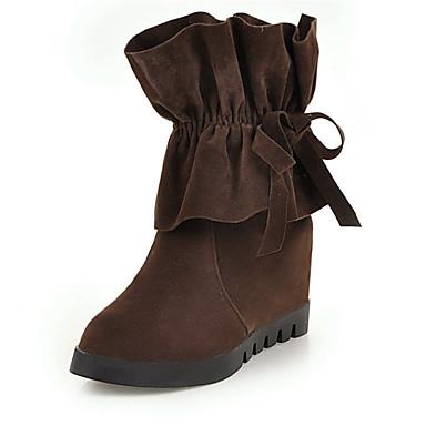 voordelige Dameslaarzen-Dames Laarzen Fashion Boots Platte hak Ronde Teen Suède Korte laarsjes / Enkellaarsjes Vintage Herfst winter Zwart / Geel / Donker Bruin / Feesten & Uitgaan