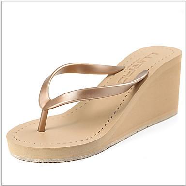 voordelige Damespantoffels & slippers-Dames Slippers & Flip-Flops Sleehak Ronde Teen PU Zomer Zwart / Bruin / Grijs