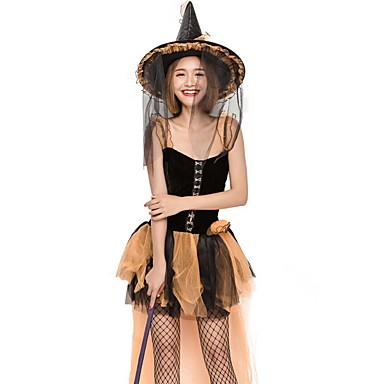 Cadı Kostüm Kadın's Peri Masalı Teması Cadılar Bayramı Performans Tema Partisi Kostümler Kadın's Dans kostümleri Polyester Bağcıklı