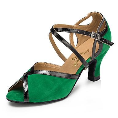 baratos Super Ofertas-Mulheres Náilon Sapatos de Dança Latina Recortes Salto Salto Cubano Personalizável Verde