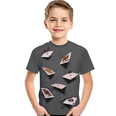 baratos Camisas para Meninos-Infantil Bébé Para Meninos Activo Básico Geométrica Estampado Estampa Colorida Estampado Manga Curta Camiseta Vermelho