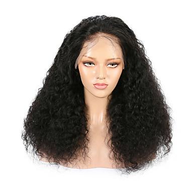 Kökten Saç Ön Dantel Peruk stil Düz Brezilya Saçı Dalgalı Siyah Peruk % 130 Saç yoğunluğu Siyah Kadın's Orta Uzunluk Gerçek Saç Örme Peruklar beikashang