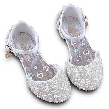 baratos Sapatos de Criança-Para Meninas Couro Ecológico Saltos Little Kids (4-7 anos) / Big Kids (7 anos +) Conforto / Salto minúsculos para Adolescentes Miçangas Branco / Rosa claro Primavera / Festas & Noite