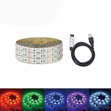 Loende USB DC 5 В 5 м светодиодные ленты 5050 RGB ленты ТВ фоновое освещение DIY домашний декоративный светильник с мини-3 комплект контроллера