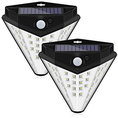 abordables Éclairage Extérieur-2pcs 10 W Lampe murale solaire Imperméable / Solaire / Contrôle de la lumière Blanc 5 V Eclairage Extérieur / Cour / Jardin 32 Perles LED