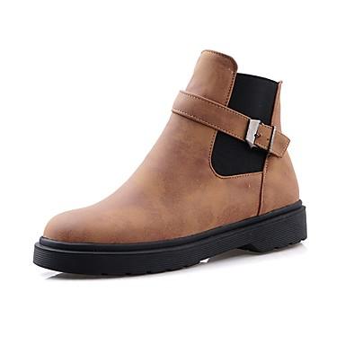 voordelige Dameslaarzen-Dames Laarzen Platte hak Ronde Teen Synthetisch Korte laarsjes / Enkellaarsjes Vintage / Brits Herfst winter Zwart / Bruin