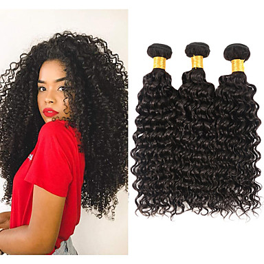 baratos Extensões de Cabelo Natural-3 pacotes Cabelo Brasileiro Kinky Curly 10A Cabelo Natural Remy Cabelo Humano Ondulado 8-28 polegada Tramas de cabelo humano Extensões de cabelo humano / Crespo Cacheado