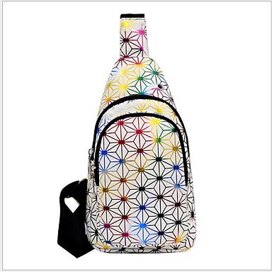 baratos Super Ofertas-Unisexo Estampa / Ziper PU Sling sacos de ombro Estampa Colorida Branco / Preto / Vermelho