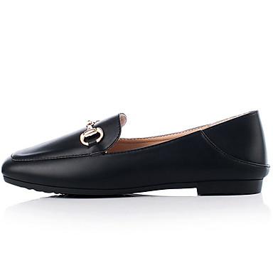 Kadın's Düz Ayakkabılar Düz Taban Dörtgen Uçlu Mikrofiber Yaz Siyah / Badem
