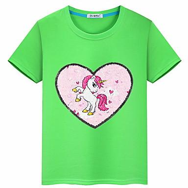 baratos Blusas para Meninas-Infantil Para Meninas Básico Geométrica Manga Curta Camiseta Rosa