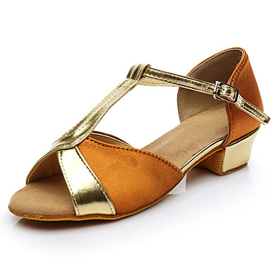 baratos Shall We® Sapatos de Dança-Mulheres Cetim Sapatos de Dança Latina Salto Salto Grosso Personalizável Marron / Vermelho / Azul