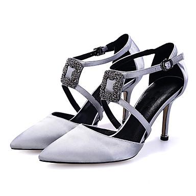 povoljno Ženske cipele-Žene Cipele na petu Sitna potpetica Krakova Toe Štras Saten minimalizam Proljeće ljeto Svjetlo siva / Lila-roza / Crvena