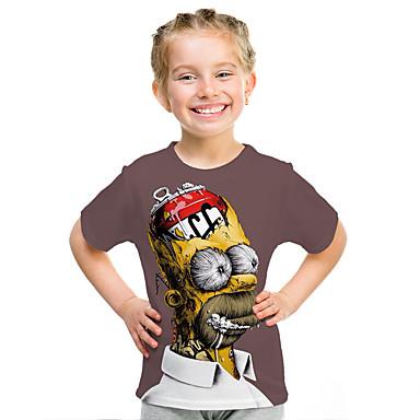 baratos Blusas para Meninas-Infantil Para Meninas Moda de Rua Estampado Estampado Manga Curta Camiseta Arco-íris