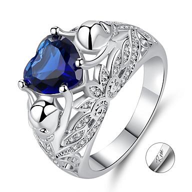 voordelige Dames Sieraden-gepersonaliseerde Aangepast Blauw Synthetische Aquamarijn Ring Zirkonia Klassiek Gegraveerd Hart Lahja Belofte Festival Heart Shape 1pcs Blauw / Laser graveren