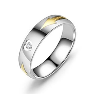 billige Motering-Herre / Dame Band Ring / Ring / Tail Ring 1pc Sølv Rustfritt Stål Sirkelformet Grunnleggende / Mote Gave / Daglig Kostyme smykker / Hjerte