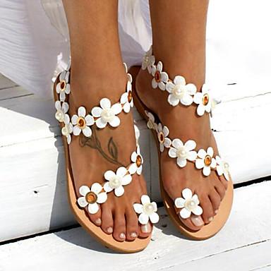 Kadın's Sandaletler Düz Taban Suni Deri Yaz Beyaz