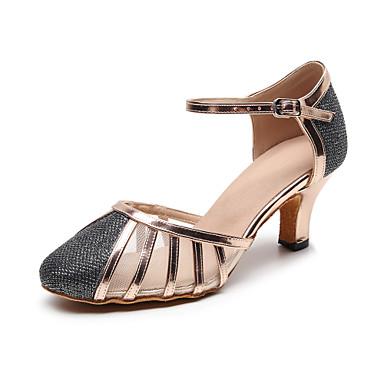 baratos Shall We® Sapatos de Dança-Mulheres Sapatos de Dança Sintéticos Sapatos de Dança Moderna Presilha Salto Salto Cubano Personalizável Cinzento / Espetáculo / Ensaio / Prática