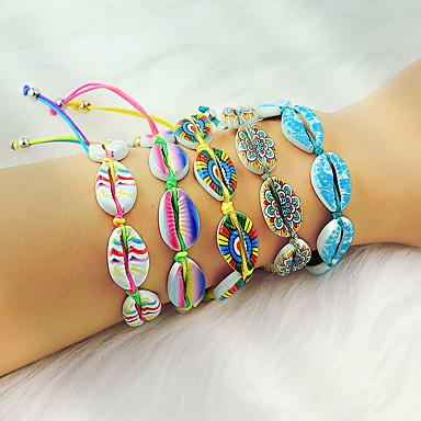 abordables Bracelet-Loom Bracelet Femme Tressé Coquillage Vacances Bohème Coloré Bracelet Bijoux Jaune Arc-en-ciel Bleu pour Quotidien Vacances Travail