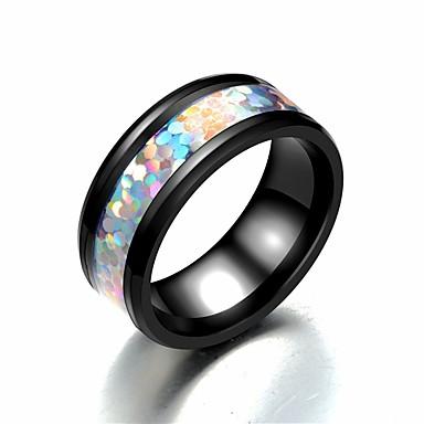 billige Motering-Herre Band Ring Ring Tail Ring 1pc Regnbue Rustfritt Stål Titanium Stål Sirkelformet Grunnleggende Mote Gave Daglig Smykker Regnbue Smuk