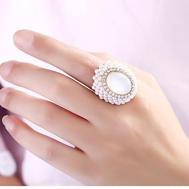 abordables Bague-Femme Anneau ouvert 1pc Blanc Chrome Ovale Mode / Elégant Quotidien Bijoux de fantaisie