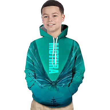 baratos Moletons Para Meninos-Infantil Bébé Para Meninos Activo Básico Geométrica Estampado Estampa Colorida Estampado Manga Longa Moleton & Blusa de Frio Verde Claro