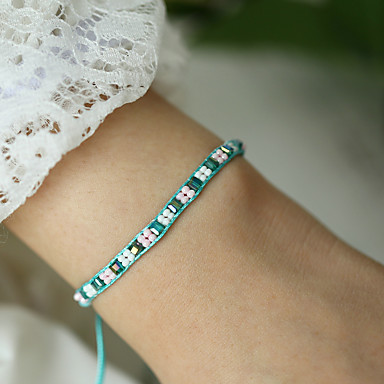 billige Motearmbånd-Dame Håndlaget Link Armbånd Flettet Lykkelig Asiatisk Bohemsk Akryl Armbånd Smykker Regnbue Til Gave Daglig