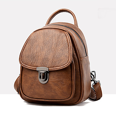 Büyük Kapasite PU Fermuar sırt çantası Tek Renk Spor ve Outdoor Siyah / YAKUT / Gri / Sonbahar Kış