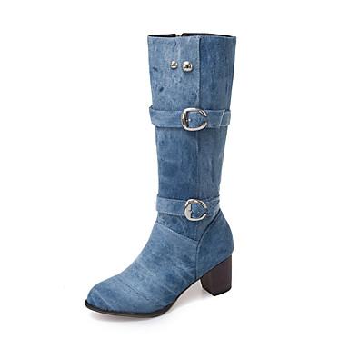 povoljno Ženske cipele-Žene Čizme Kockasta potpetica Okrugli Toe Traper Čizme do pola lista Jesen zima Crn / Dark Blue / Tamno plava