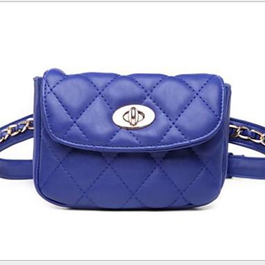 baratos Super Ofertas-Mulheres Corrente PU Bolsa de Cintura Côr Sólida Azul / Branco / Preto