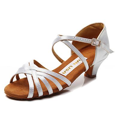 baratos Super Ofertas-Mulheres Seda Sapatos de Dança Latina Salto Salto Grosso Personalizável Preto / Rosa e Branco / Castanho Escuro