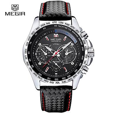baratos Relógios Homem-relógio de quartzo dos homens do megir relógio de quartzo do relógio do pulso de disparo dos esportes do couro do luxo