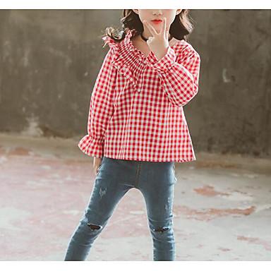 baratos Blusas para Meninas-Infantil Para Meninas Básico Sofisticado Quadriculada Pregueado Manga Longa Algodão Camisa Preto