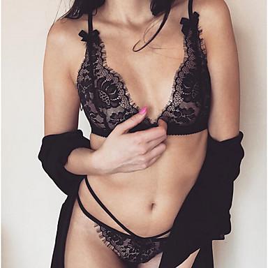 cheap Women's Sexy Lingerie-Women's Lace Wireless Padless 3/4 Cup Bras & Panties Sets Sexy White Black