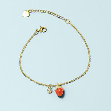 abordables Bracelet-Bracelet Pendentif Femme Géométrique Fraise Pendant Coréen Mode Bracelet Bijoux Dorée pour Quotidien Travail Festival