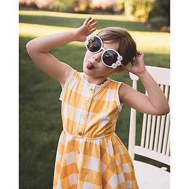 abordables Vestidos de Niña-Niños Bebé Chica Dulce A Cuadros Estampado Sin Mangas Hasta la Rodilla Algodón Licra Vestido