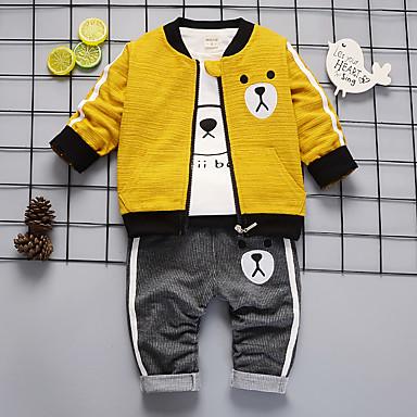 povoljno Odjeća za bebe Za dječake-Dijete Dječaci Ležerne prilike / Osnovni Prugasti uzorak / Geometrijski oblici Print Dugih rukava Regularna Normalne dužine Komplet odjeće Djetelina
