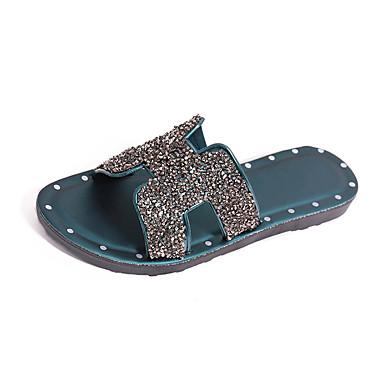 voordelige Damespantoffels & slippers-Dames Slippers & Flip-Flops Platte hak Open teen Sprankelend glitter PVC Informeel Zomer Zwart / Zilver / Donkergroen