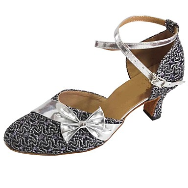 povoljno Obuća za dvoranski ples i moderne plesove-Žene PU Moderna obuća Mašnica Štikle Kubanska potpetica Pink / Bronza / Crvena